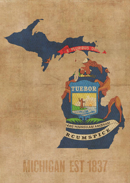 Wall Art - Mixed Media - Michigan State Flag Map Founded Date by Design Turnpike