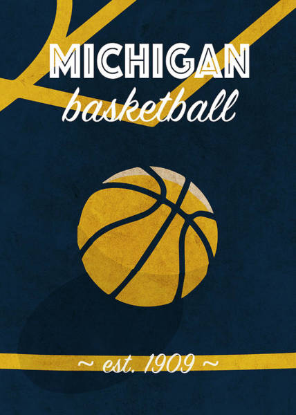Wall Art - Mixed Media - Michigan University Retro College Basketball Team Poster by Design Turnpike