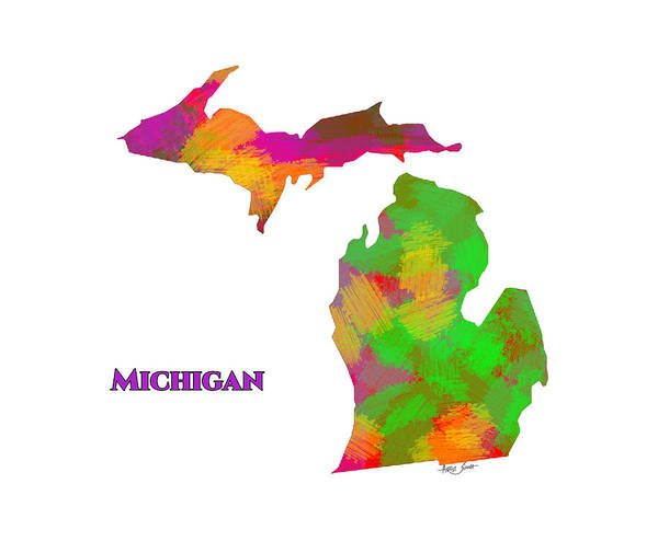 Mi Mixed Media - Michigan- Usa Map By Artist Singh by Artist Singh MAPS