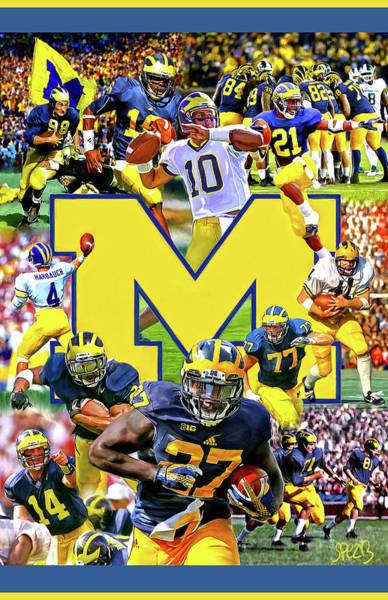 Wall Art - Mixed Media - Michigan Wolverines Football by Mark Spears