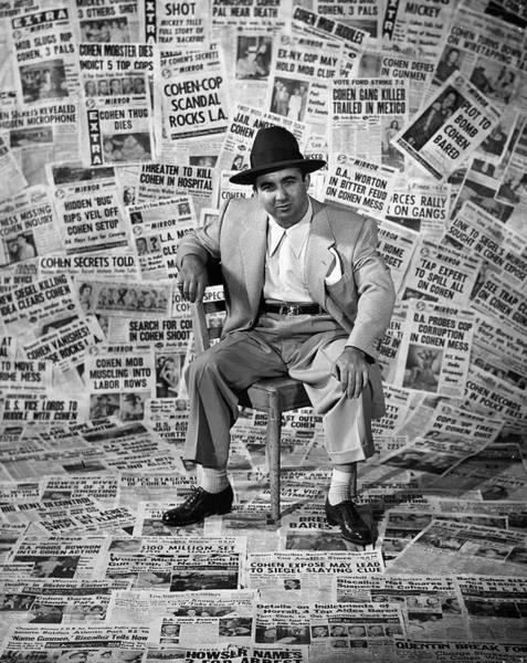 Front Page Photograph - Mickey Cohen by Ed Clark