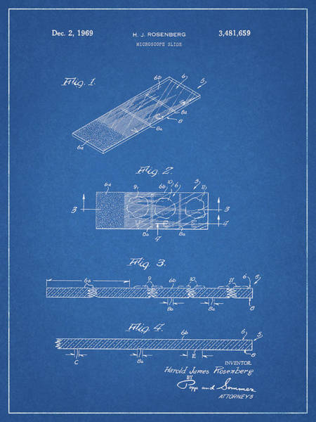 Drawing - Microscope Slide Patent by Dan Sproul