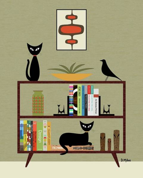 Digital Art - Mid Century Bookcase  by Donna Mibus