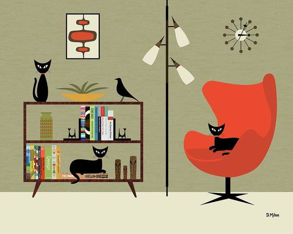 Digital Art - Mid Century Bookcase Room by Donna Mibus