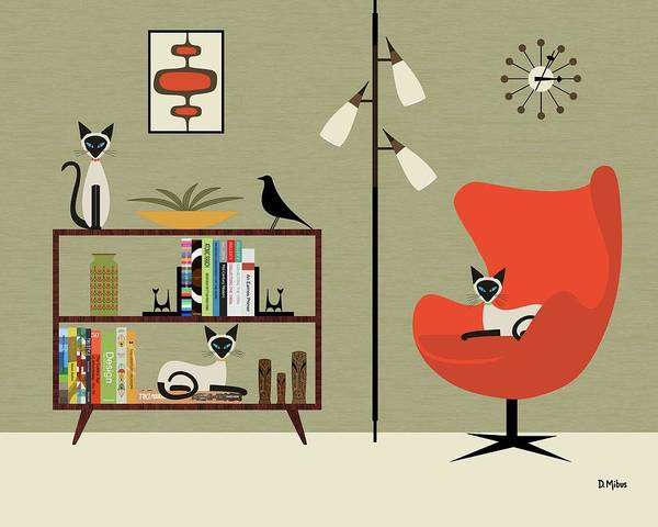 Digital Art - Mid Century Bookcase Room With Siamese by Donna Mibus