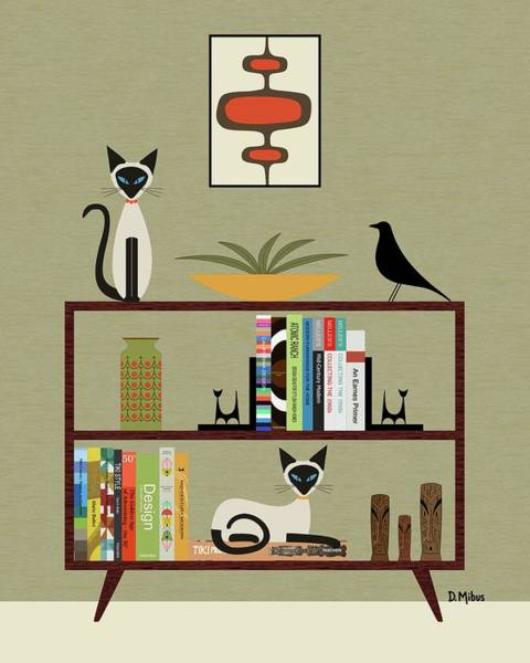 Digital Art - Mid Century Bookcase With Siamese by Donna Mibus