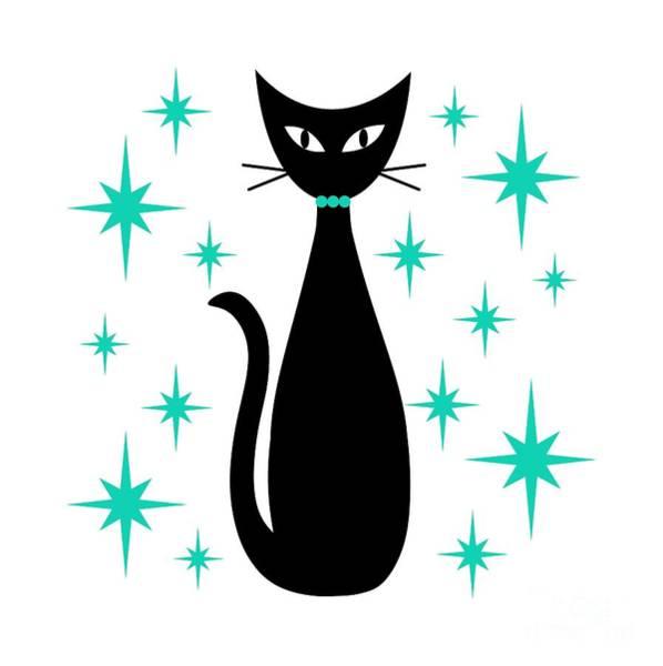 Digital Art - Mid Century Cat With Aqua Starbursts by Donna Mibus