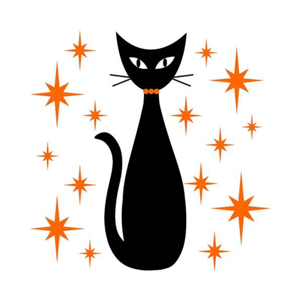 Wall Art - Digital Art -  Mid Century Cat With Orange Starbursts by Donna Mibus