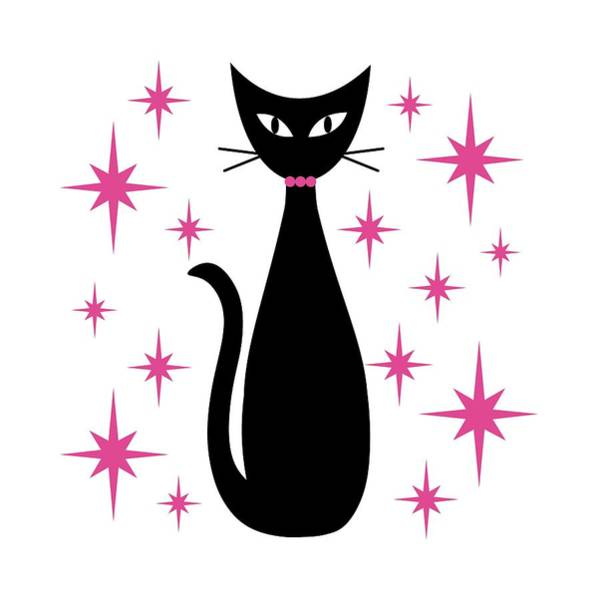 Digital Art - Mid Century Cat With Pink Starbursts by Donna Mibus