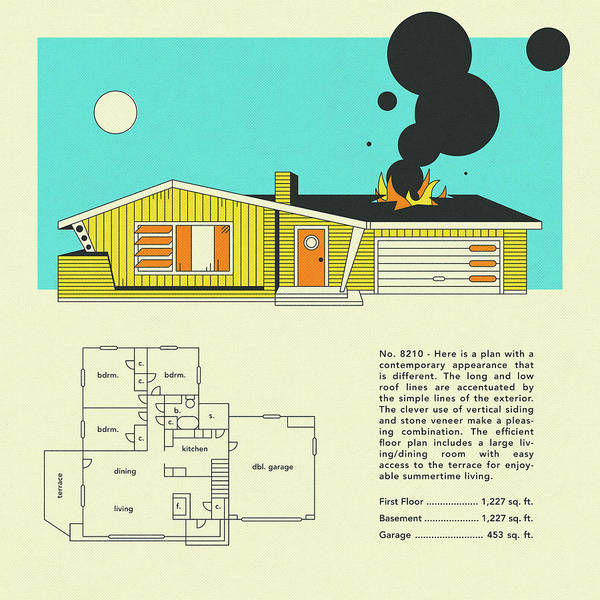 Wall Art - Digital Art - Mid Century Home Design 8210 by Jazzberry Blue