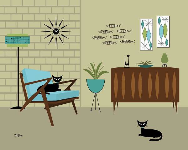 Digital Art - Mid Century Modern Room by Donna Mibus