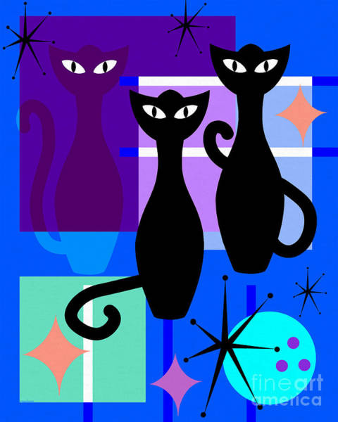 Digital Art - Mid Century Modern Abstract Mcm Bowling Alley Cats 20190113 M180 by Wingsdomain Art and Photography