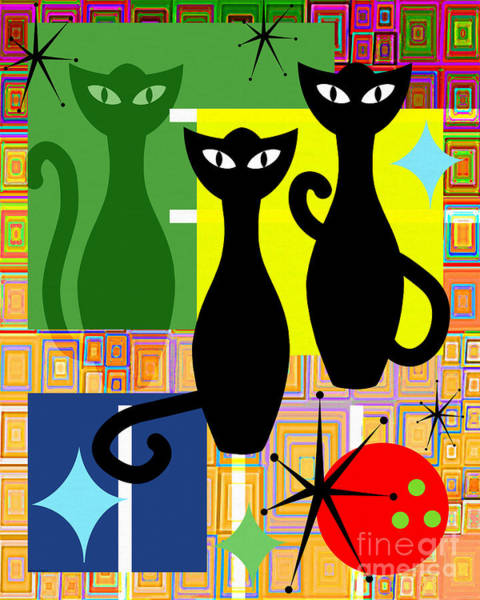 Wingsdomain Digital Art - Mid Century Modern Abstract Mcm Bowling Alley Cats 20190113 V2 by Wingsdomain Art and Photography