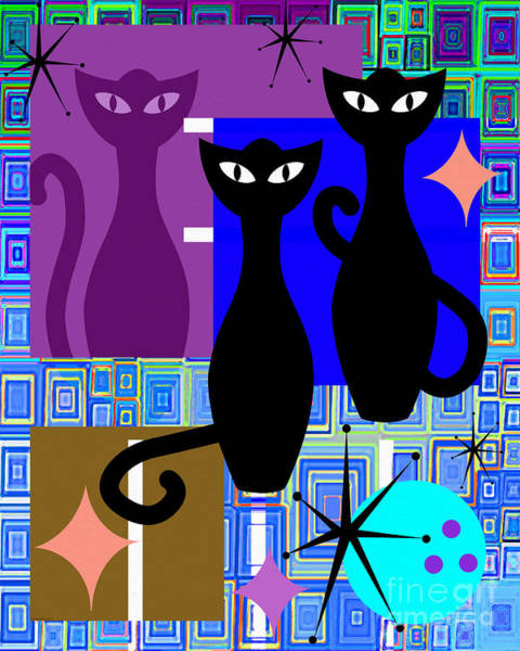 Wingsdomain Digital Art - Mid Century Modern Abstract Mcm Bowling Alley Cats 20190113 V2m1 by Wingsdomain Art and Photography