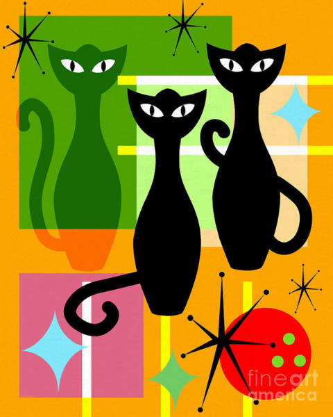 Photograph - Mid Century Modern Abstract Mcm Bowling Alley Cats 20190113 by Wingsdomain Art and Photography