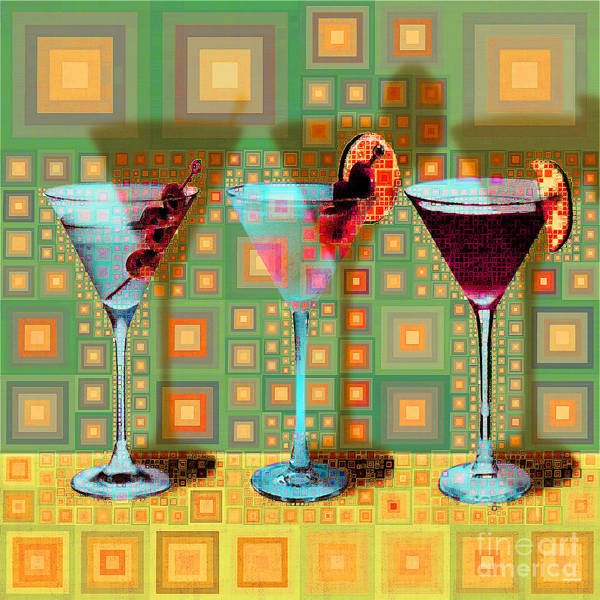 Wall Art - Digital Art - Mid Century Modern Abstract Mcm Three Martinis Shaken Not Stirred 20190127 V1 Square by Wingsdomain Art and Photography