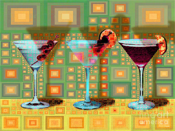 Wall Art - Digital Art - Mid Century Modern Abstract Mcm Three Martinis Shaken Not Stirred 20190127 V1a by Wingsdomain Art and Photography
