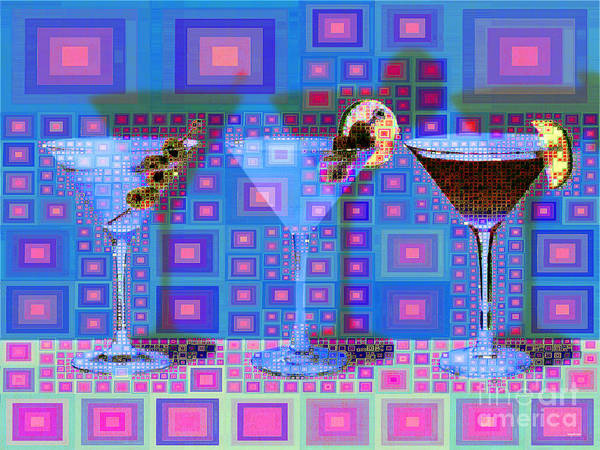 Wall Art - Digital Art - Mid Century Modern Abstract Mcm Three Martinis Shaken Not Stirred 20190127 V2a by Wingsdomain Art and Photography