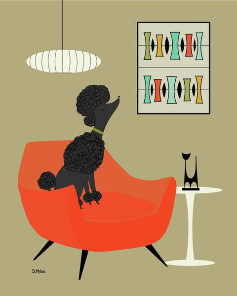 Digital Art - Mid Century Modern Black Poodle by Donna Mibus