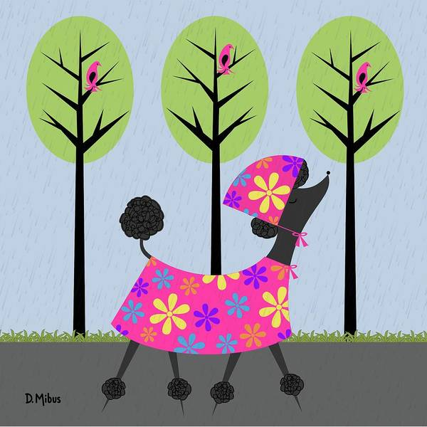 Digital Art - Mid Century Modern Black Poodle Spring by Donna Mibus