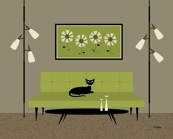 Digital Art - Mid Century Modern Daisies by Donna Mibus