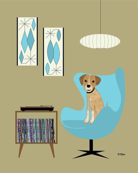 Digital Art - Mid Century Modern Dog With Record Player by Donna Mibus