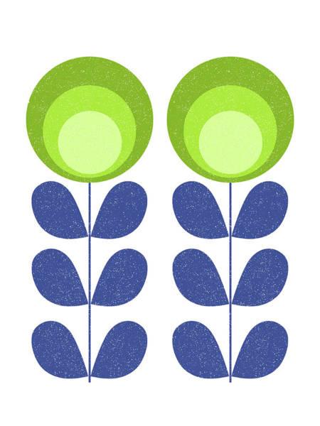 Mixed Media - Mid Century Modern Green Flowers  by Naxart Studio