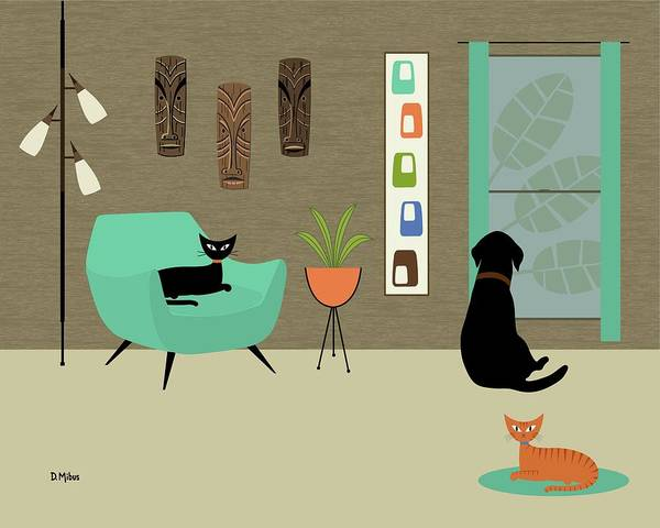 Digital Art - Mid Century Modern Lab In Green by Donna Mibus
