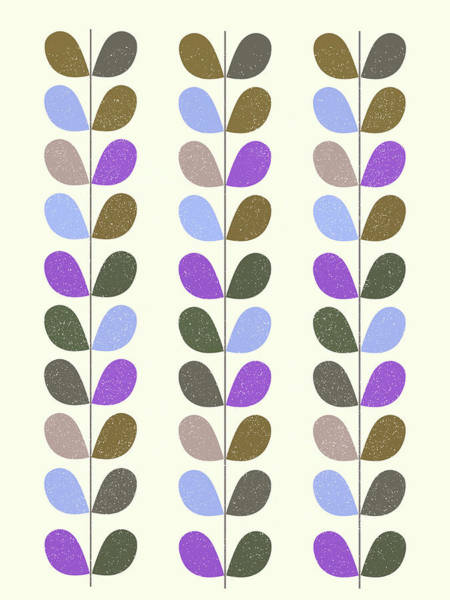 Mixed Media - Mid Century Modern Leaf Pattern II by Naxart Studio