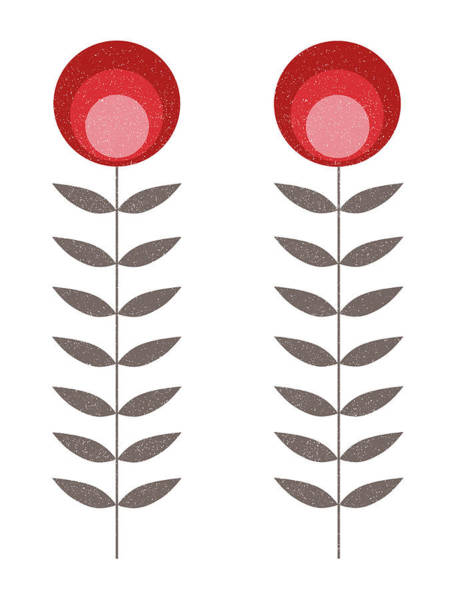 Mixed Media - Mid Century Modern Red Flowers II by Naxart Studio