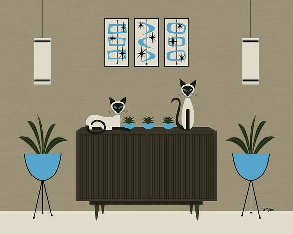 Digital Art - Mid Century Modern Siamese Cats by Donna Mibus