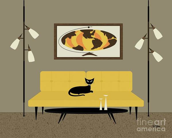 Digital Art - Mid Century Modern World Map by Donna Mibus