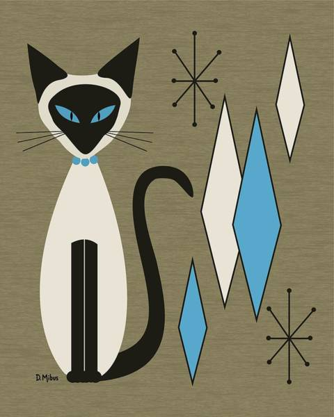 Digital Art - Mid Century Siamese With Diamonds by Donna Mibus