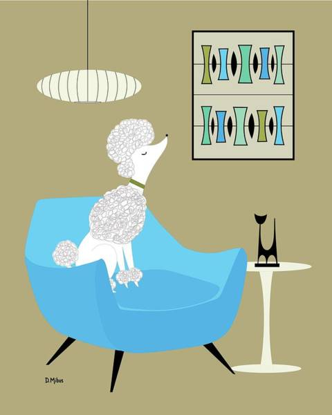 Digital Art - Mid Century White Poodle by Donna Mibus