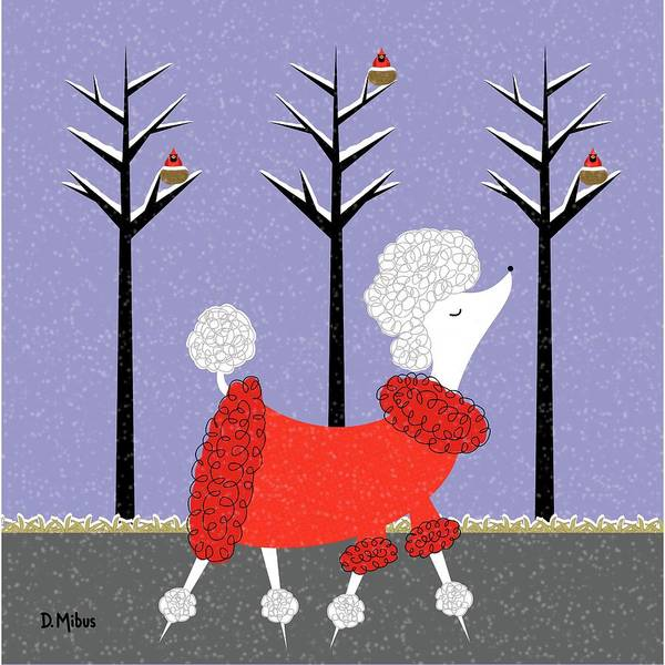 Digital Art - Mid Century White Poodle Winter by Donna Mibus