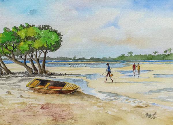 Sand Creek Painting - Mida Creek Kenya by Anthony Mwangi
