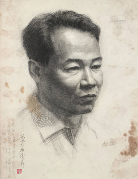 Pan Head Painting - Middle Aged Man's Head  Portrait-arttopan Drawing-portrait Realistic Carbon Pencil Sketch by Artto Pan