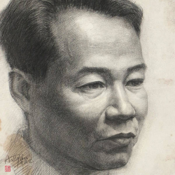 Pan Head Painting - Middle Aged Man's Head  Portrait-part-arttopan Drawing-portrait Realistic Carbon Pencil Sketch by Artto Pan