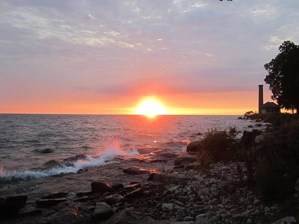Middle Bass Island Photograph - Middle Bass Sunset With Pump House by Monica Donaldson Stewart