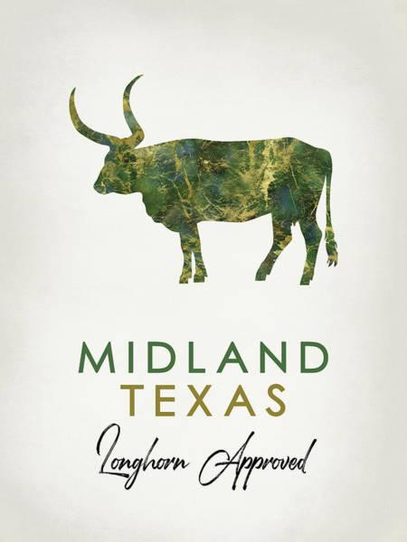 Longhorn Digital Art - Midland Texas Dark Marble by Flo Karp