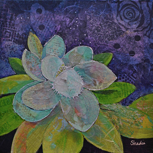 Wall Art - Painting - Midnight Magnolia I by Shadia Derbyshire