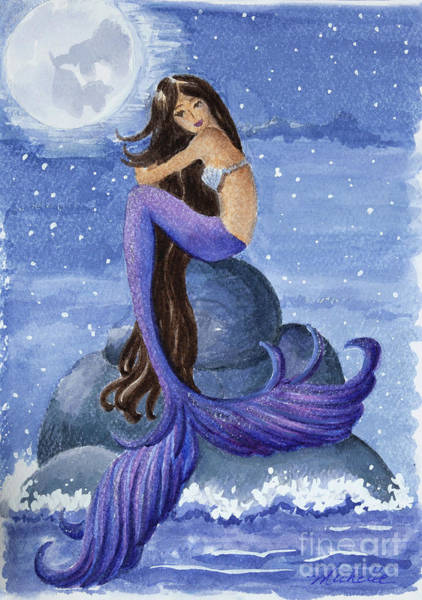 Painting - Midnight Mermaid by Michelle Constantine