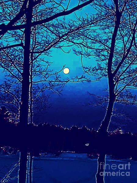 Quebec City Digital Art - Midnight Moon by Shelly Wiseberg
