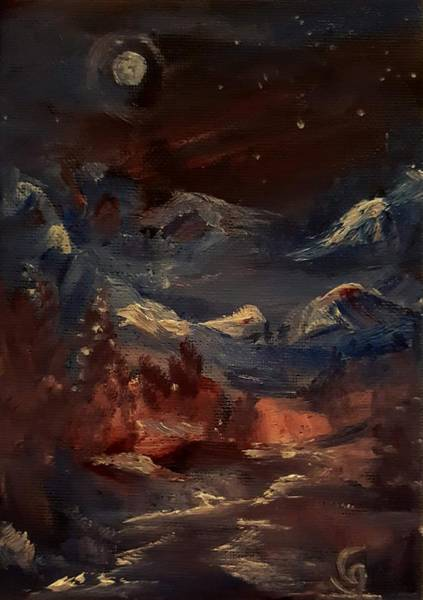 Painting - Midnight Mountains       Ap11 by Cheryl Nancy Ann Gordon