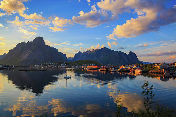 Wall Art - Photograph - Midnight Sun Falls Upon The Village Of Reine by Bridget Calip
