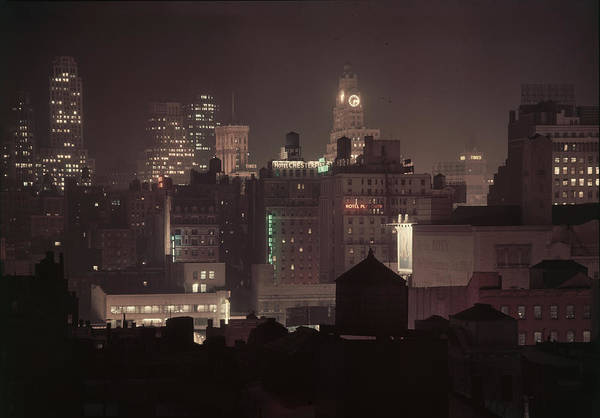 Photograph - Midtown At Night by Andreas Feininger