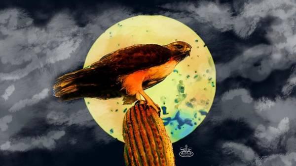 Zilla Digital Art - Midwest Moon Hawk by Carlitos Zilla