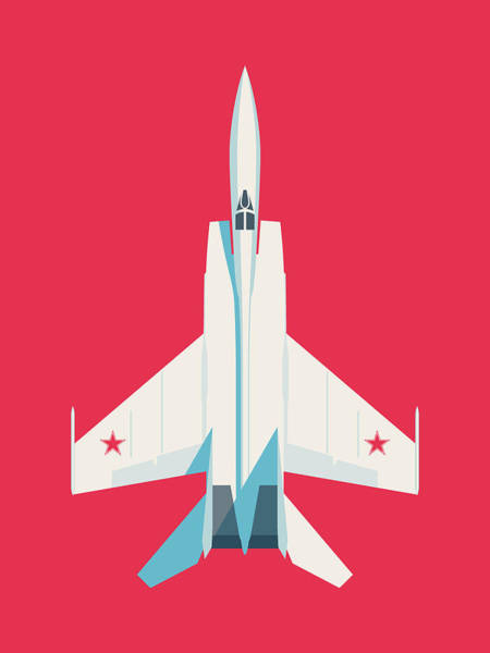 Wall Art - Digital Art - Mig-25 Foxbat Interceptor Jet Aircraft - Crimson by Ivan Krpan