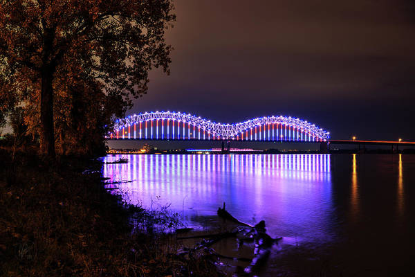 Photograph - Mighty Lights Of The Hernando Desoto Bridge 001 by Lance Vaughn