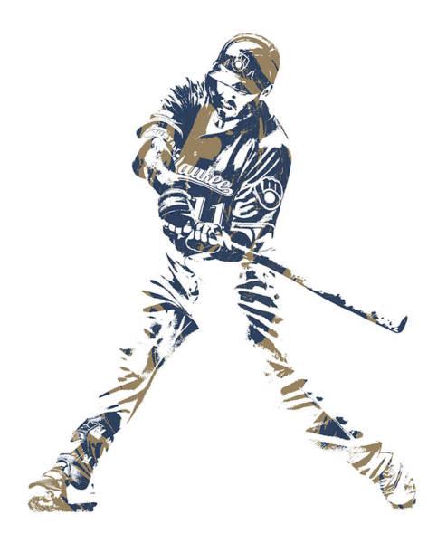Wall Art - Mixed Media - Mike Moustakas Milwaukee Brewers Pixel Art 2 by Joe Hamilton